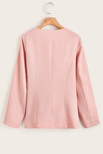 back_Bossy And Glossy Pink Fitted Blazer
