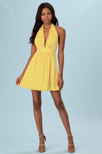 front_Chatoyant Yellow Mini Dress