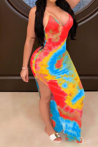 front_Theresa Ella Rainbow Tie Dye High Split Hem Slip Dress