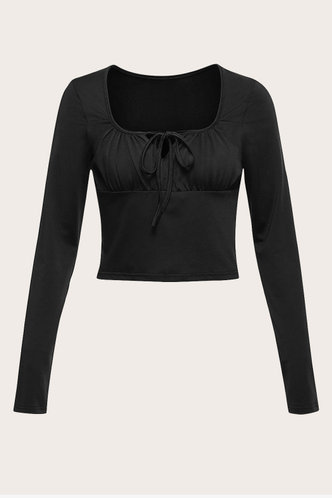 front_Nice For What Black Crop Top
