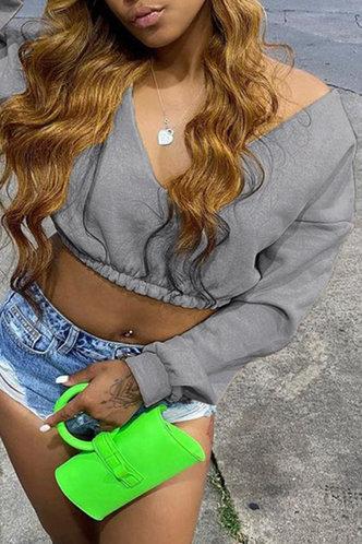 back_Sexy Low Cut Solid Shirred Grey Sweatshirts & Hoodies