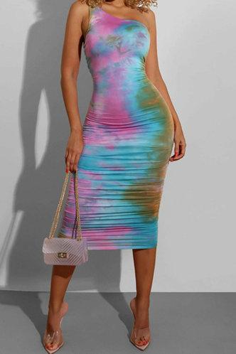front_Party Long Sleeveless One Shoulder Rainbow Tie Dye Tie Dye Dresses