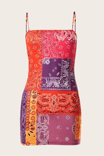 back_Paz Enid Colorblock Paisley Print Cami Bodycon Dress