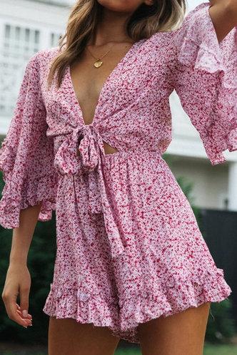 front_Denise Kovert Pink Floral Print Romper