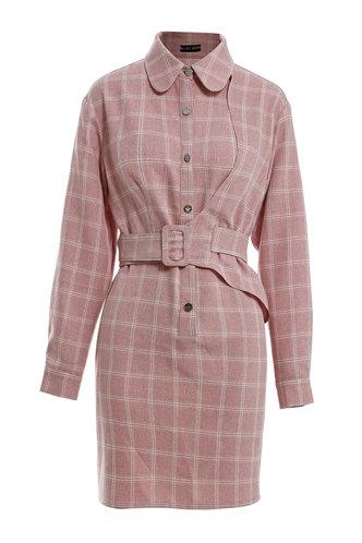front_Bonnie Eden Dusty Pink Belted Dress