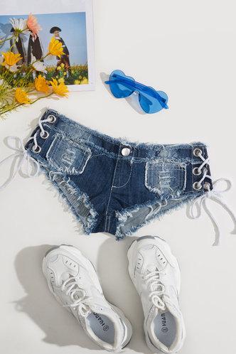 back_Olivia Elaine Wash Blue Denim Shorts