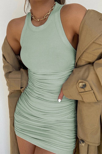 front_Carmelita Mint Green Ruched Dress