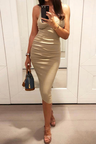 front_Ethel Jagu Khaki Cami Bodycon Dress