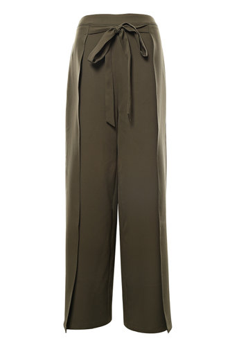 front_Back On Top Army Green Wrap Pants