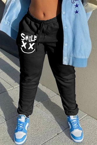 front_Mid Waist Graphic Black Pants