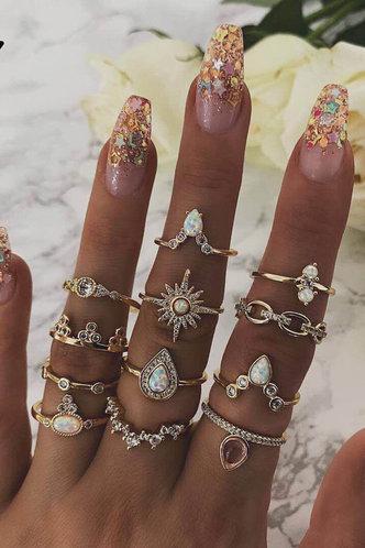 front_Ena Eleanore Gold Rhinestone Charm Ring 12pcs