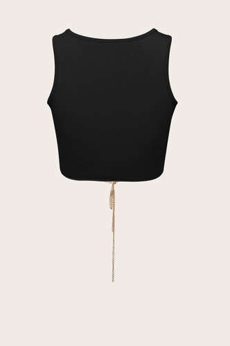back_Smith seven Black Lace-Up Crop Top