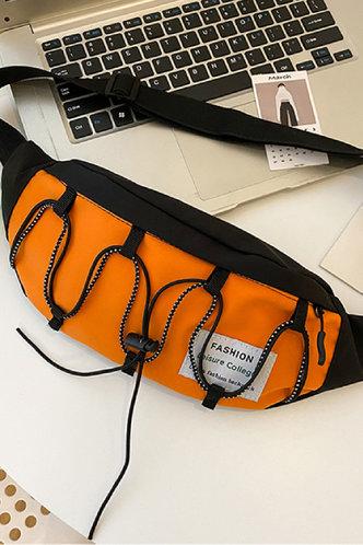 back_Color Block Bandage Zipper Up Orange Bum Bags