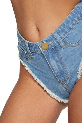 back_Carolina Elsa Wash Light Blue Denim Shorts