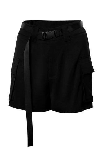 front_Pockets Please Black Utility Shorts