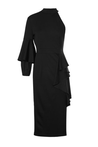 front_Back Up Plan Black Pencil Dress