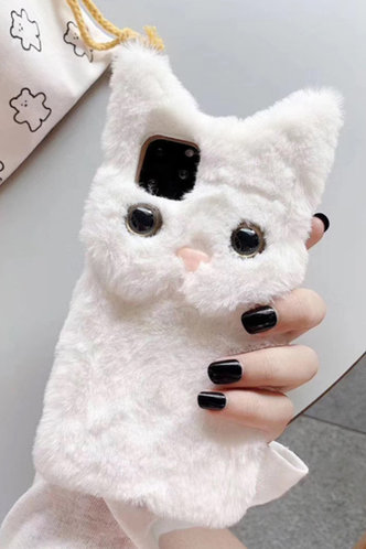 front_Bunny Style Faux Fur White Cases