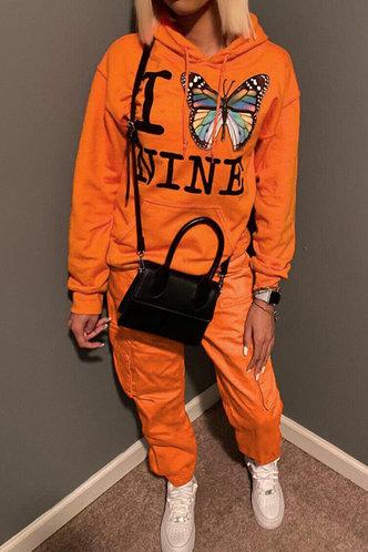 front_Pocket Drawstring Pullover and Orange Sweatshirt Sets