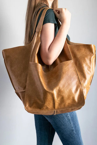 back_Solid Color Button Brown Tote Bags