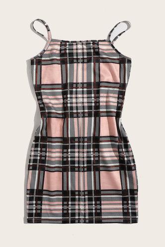 back_Helen Kvarop Plaid Plus Cami Bodycon Dress
