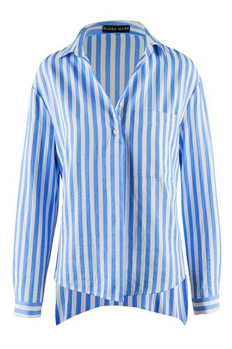 back_Moment For Life White And Blue Striped Blouse