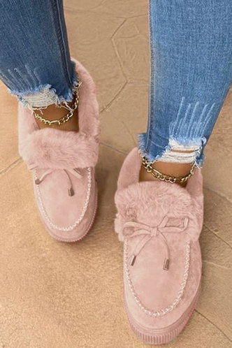 front_Plain Flat Round Toe Pink Boots