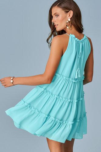 front_Ocean Breeze Caribbean Blue Mini Dress