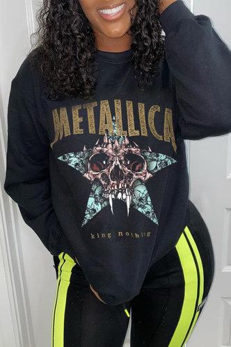 back_Casual Crew Neck Letter Graphic Black Sweatshirts & Hoodies