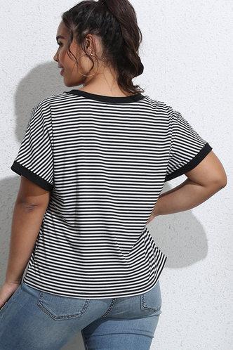 back_Tina Eileen Black And White Striped Plus Tee