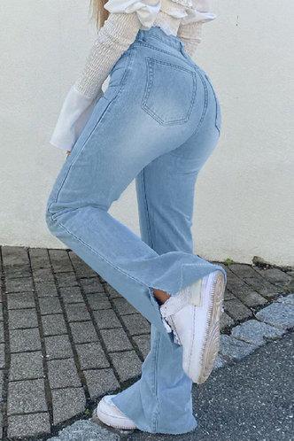 back_Mid Waist  Split Long Flare Leg Wash Light Blue Jeans