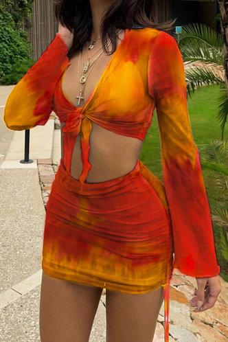 front_Rosaline Elvira Orange Tie Dye Set