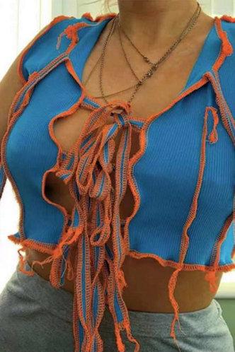 front_Gemma Interes Blue Tie Front Crop Top