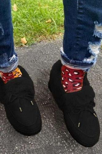 back_Plain Flat Round Toe Black Boots