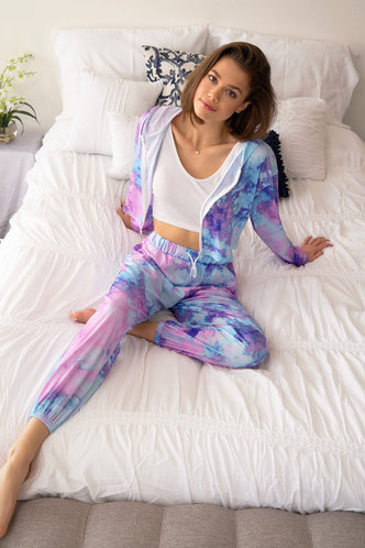 front_Camila Multicolor Hooded Lounge Set