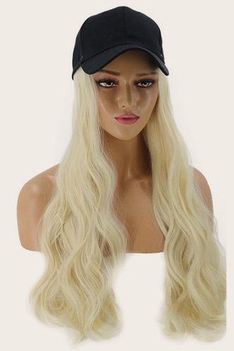 front_Eudora Pluming Light Yellow Wigs With Baseball Cap