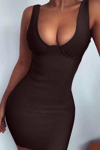 front_Arabella Elsa Coffee Bodycon Dress