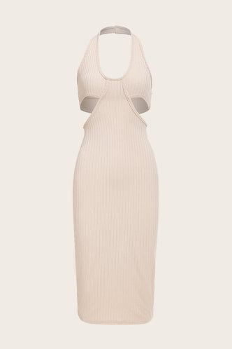 back_Caroline Homar Beige Cutout Side Bodycon Dress