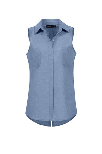 back_Rock of Ages Blue Chambray Top