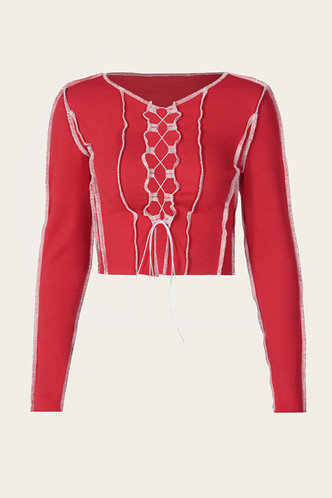 back_Lace Up Make Old Long Sleeve Round Neck Regular Fit Red Tees