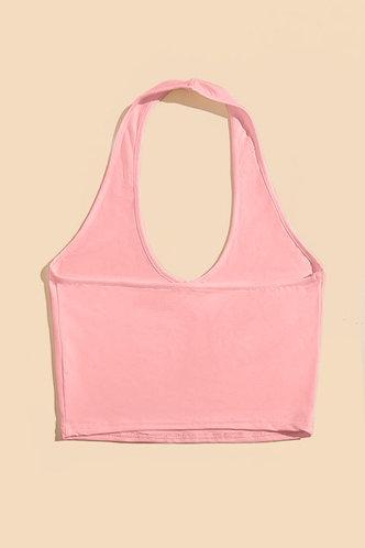 back_Bonny Erica Pink Halter Crop Top