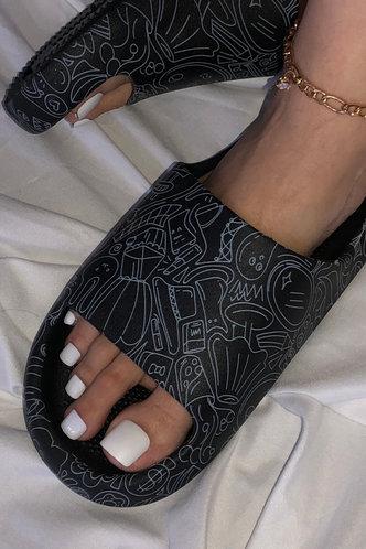 back_Alfy Evangeline Black Slide & Flip Flop