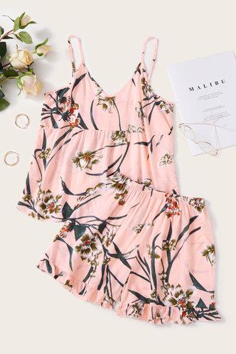 front_Eleanore Kuvan Pink Floral Print Loungewear Set