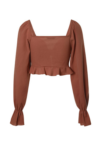 back_At Peace Rust Red Tie Front Blouse