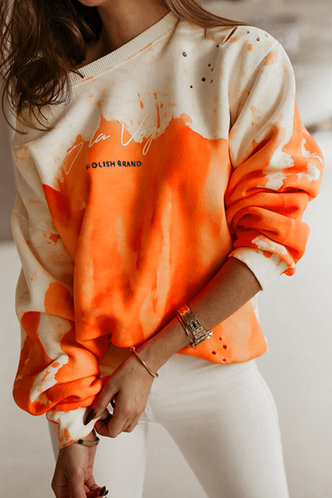 front_Casual Sporty Round Neck Tie Dye  Orange Tie Dye Sweatshirts & Hoodies
