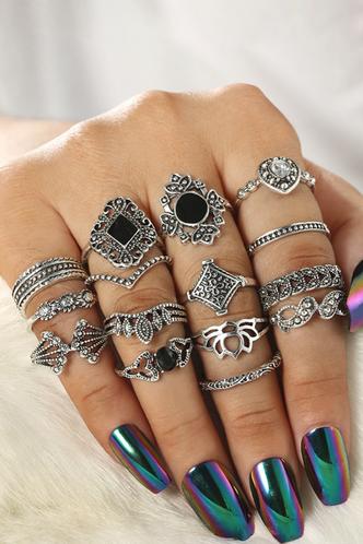 front_Starr Eleanore Sliver Rhinestone Decor Ring 15pcs