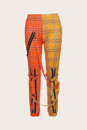 back_Beverly Emily Orange And Yellow Plaid Plus Pants