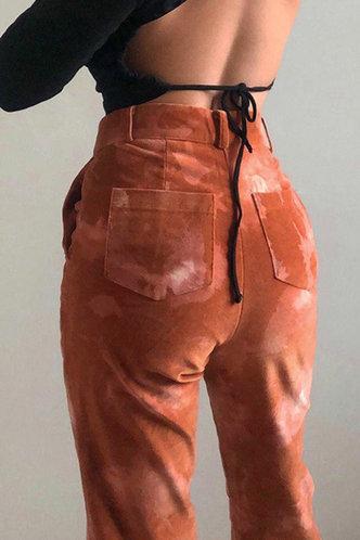 back_Cathleen Elizabeth Rust Red Flare Pants