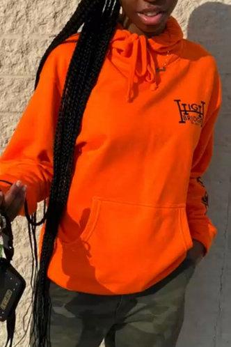 back_Street Hooded Collar Cartoon Orange Sweatshirts & Hoodies