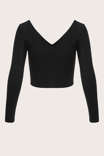 back_Face Me Black Ribbed Top