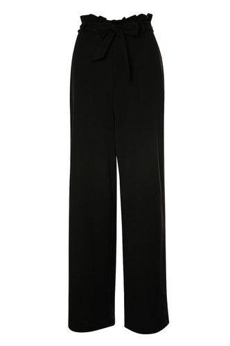 front_Slow Motion Black Paperbag Wide Leg Pants